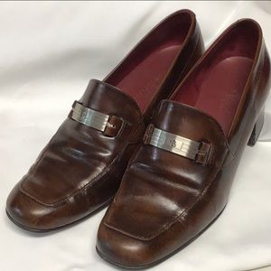 LRL brown leather Sybil heeled loafers 12
